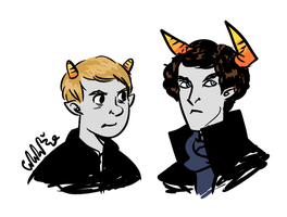Sherlock and John Homestuck by mellamelfran