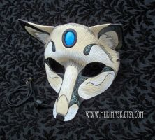 Turquoise Fox Leather Mask by merimask