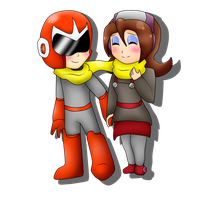 .:AT:. Chibi Dance Woman and Proto Man by Zack-Ocs