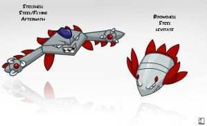 Fakemon- Boomshell and Stelshell by metalliam