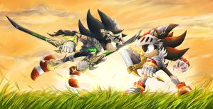Dark Sonic vs Lancelot by splushmaster12