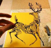 Deer PAPER CUTTING by Snowboardleopard