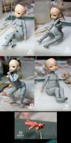 22cm TINY BODY TYPE sculpture in process by DollPamm