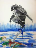 Link vs. Dark Link by becomesthecolour