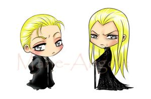 Draco and Lucius Malfoy Chibis by Sambre-sambre