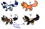 -ADOPT UPDATE- : Fox/Wolf Adoptables : 4 Left : by Spychedelic