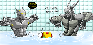 Mech-Men Pool Party! by Halo-Yokoshima