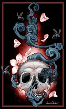 Skull and Flowers by hardnox757