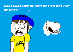 Jeffy Screaming When He Saw Moe the Ghost! by MikeEddyAdmirer89