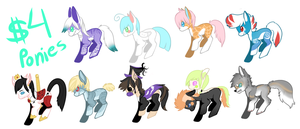 $4 pony adopts! by IMonsterDrool