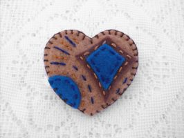 Brown and blue heart felt brooch by PeachPodHandmade