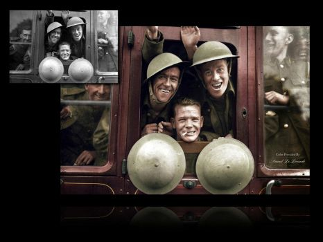 British troops board their train, 1939 |Colorized by JohnnyMex