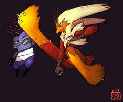Blaziken vs. Croagunk by DirtyBrownPaper