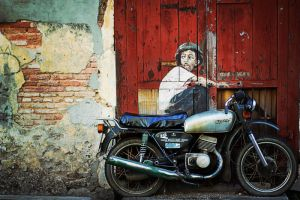 the boy, the door, wall, and a motocycle by Red97678
