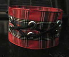 Red Plaid Punk Rock Bracelet by mzvampy