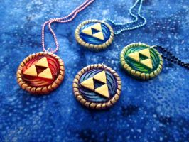 Zelda Triforce Swirl Pendants by DragonCid