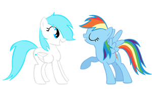 Bluestar and Rainbow Dash by Names-Tailz