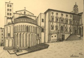 Drawing - City Square_02 by eduaarti