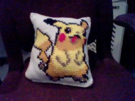 Pikachu Pixel Pillow by jetsmillion