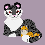 Tiger and Kitten lineart less chibi by Neoanais