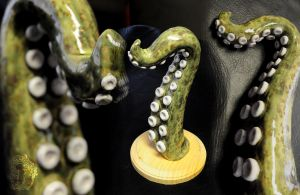 Green Tentacle with White Accents - wall decor by kerinewton