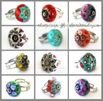Lampwork glass rings 1 by Faeriedivine