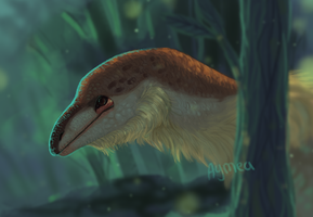 Digital painting: raptor/dragon creature bust by Aymea