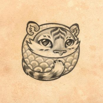 Wave Tiger Mochi - Tattoo Commission by Cameron-Brideoake