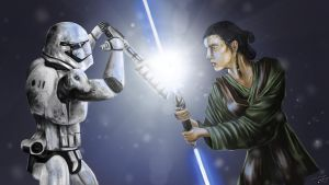 Rey VS Stormtrooper by BoldCat