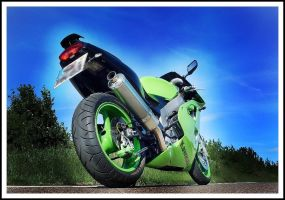 green motorbike. by syncopated-ART