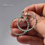 Hoop earrings with turquoise seed beads by artual