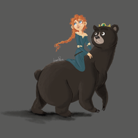 Merida and Queen Elinor by Braulino