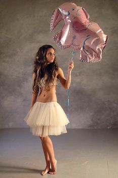 a girl with pink elephant by GalaGankina