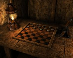 A Checkers Table Scene by eRe4s3r