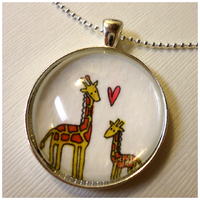 Mommy And Baby Giraffe Pendant by cellsdividing