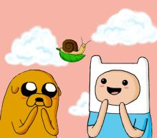 Finn, Jake, and the Snail on a Leaf by lemon-stockings