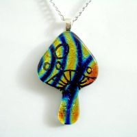MANLY Magic Mushroom Fused Glass Pendant by poisons-sanity