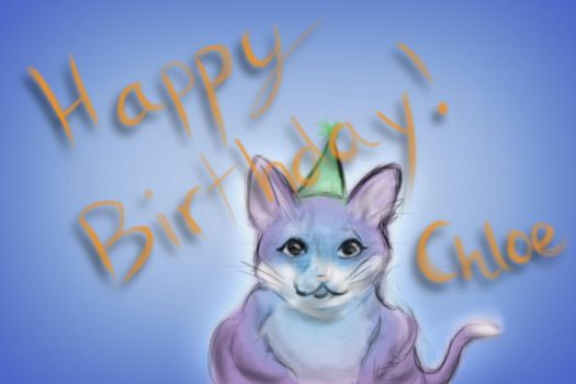Chloe - Cat Birthday Card by bongupper