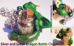 Green and Silver Dragon bottle charm by Kaninano