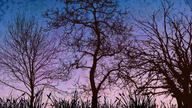 Tree silhouettes purple background by SnowySongz