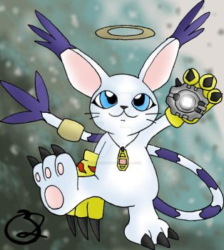 Gatomon with Digivice + Crest by Kniteschaed
