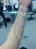 dragon on forearm by RocCenere
