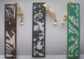 Papercut Dragon Bookmarks by freaky-dragonlady