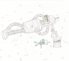 Bender and gir chilling on the by Immarumwhore