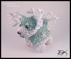 Ice Puppy  -3D Origami - by Delinlea