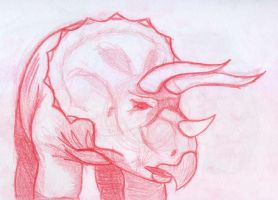 Triceratops sketch -3 by BAC-of-all-trades