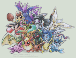 My Eeveelutions Group Pic by Meowzzie