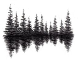 Trees on a Lake by civilgorilla