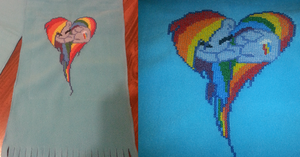 Rainbow Dash Heart scarf by Sew-Madd