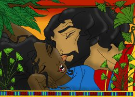 Moses and Tzipporah Colored by DaBrandonSphere